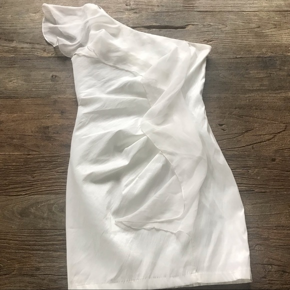 Cache Dresses & Skirts - Cache one shoulder white dress with ruffle size 8